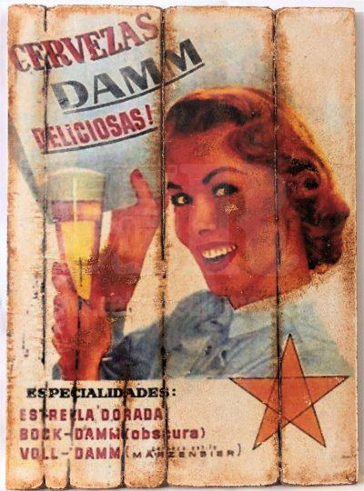 Cuadro de madera vintage CERVEZA DAMM Bebidas Cuadros Vintage