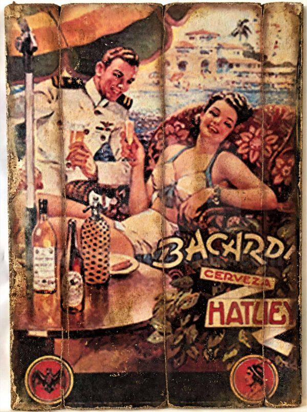 Cuadro de madera vintage BACARDÍ Inicio Bebidas Cuadros Vintage