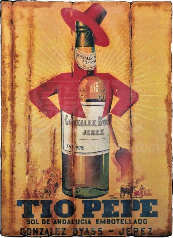 Cuadro de madera vintage TIO PEPE Bebidas Cuadros Vintage