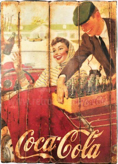 Cuadro de madera vintage COCA COLA Inicio Bebidas Cuadros Vintage