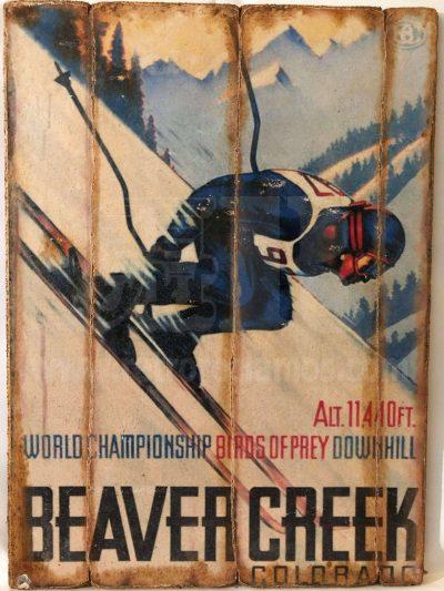 Cuadro de madera vintage BEAVER CREEK Cuadros Vintage Nieve