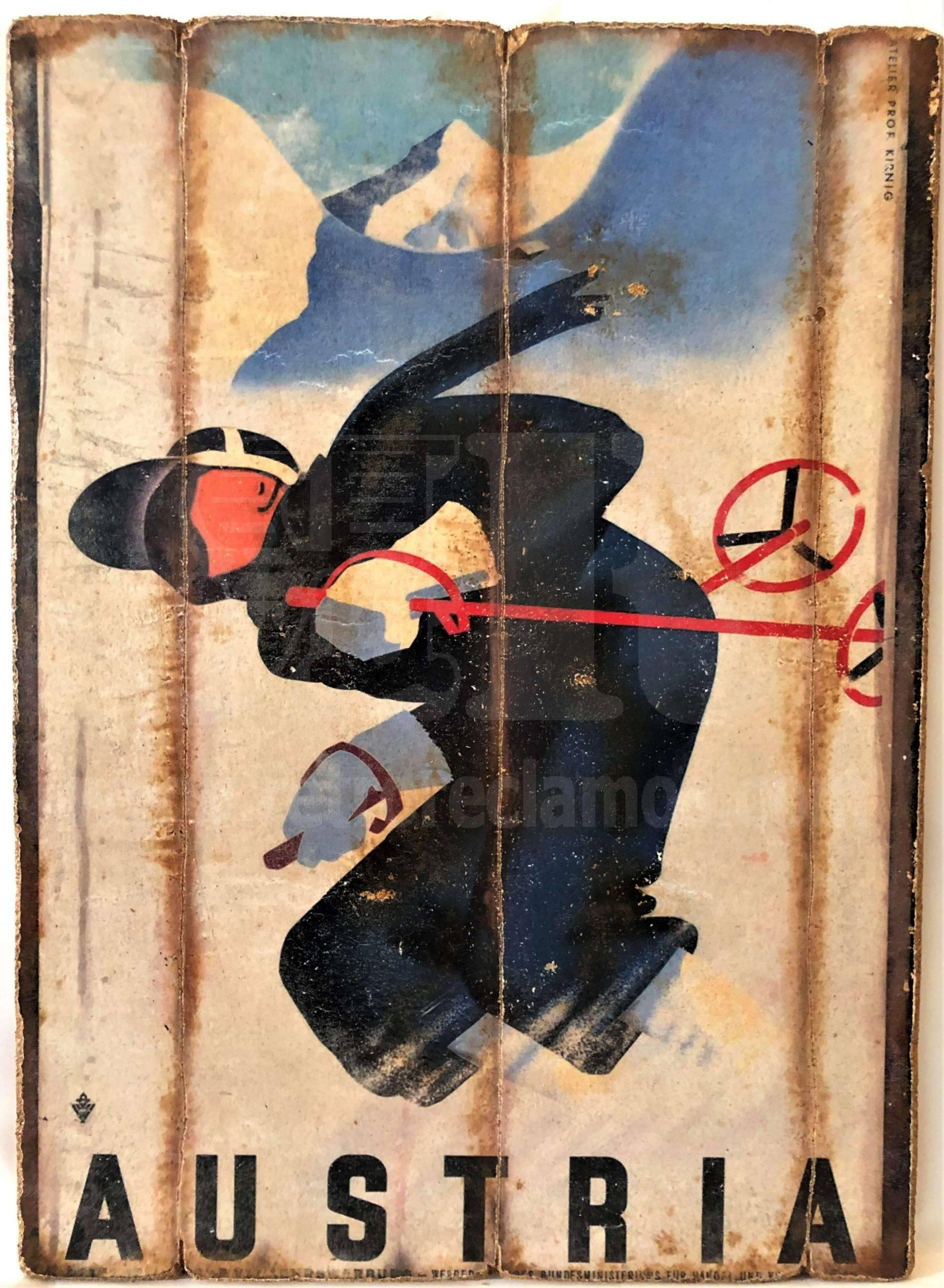 Cuadro de madera vintage AUSTRIA Cuadros Vintage Nieve
