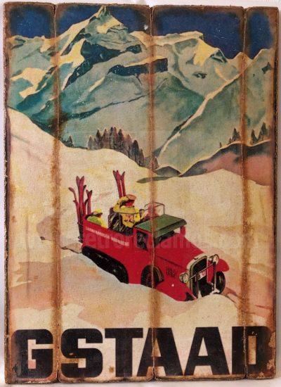 Cuadro de madera vintage GSTAAD Cuadros Vintage Nieve