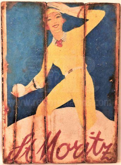 Cuadro de madera vintage ST MORITZ Cuadros Vintage Nieve