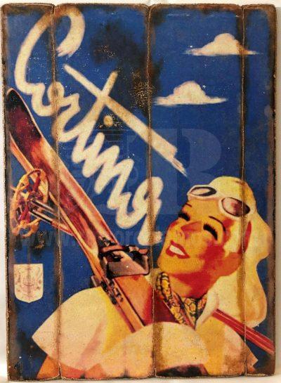 Cuadro de madera vintage CORTINA Cuadros Vintage Nieve