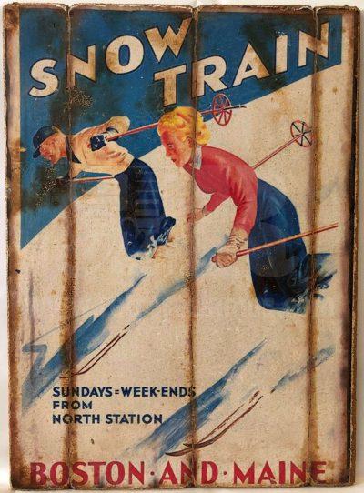 Cuadro de madera vintage SNOW TRAIN Cuadros Vintage Nieve