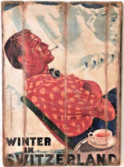 Cuadro de madera vintage Winter in Switzerland Cuadros Vintage Nieve