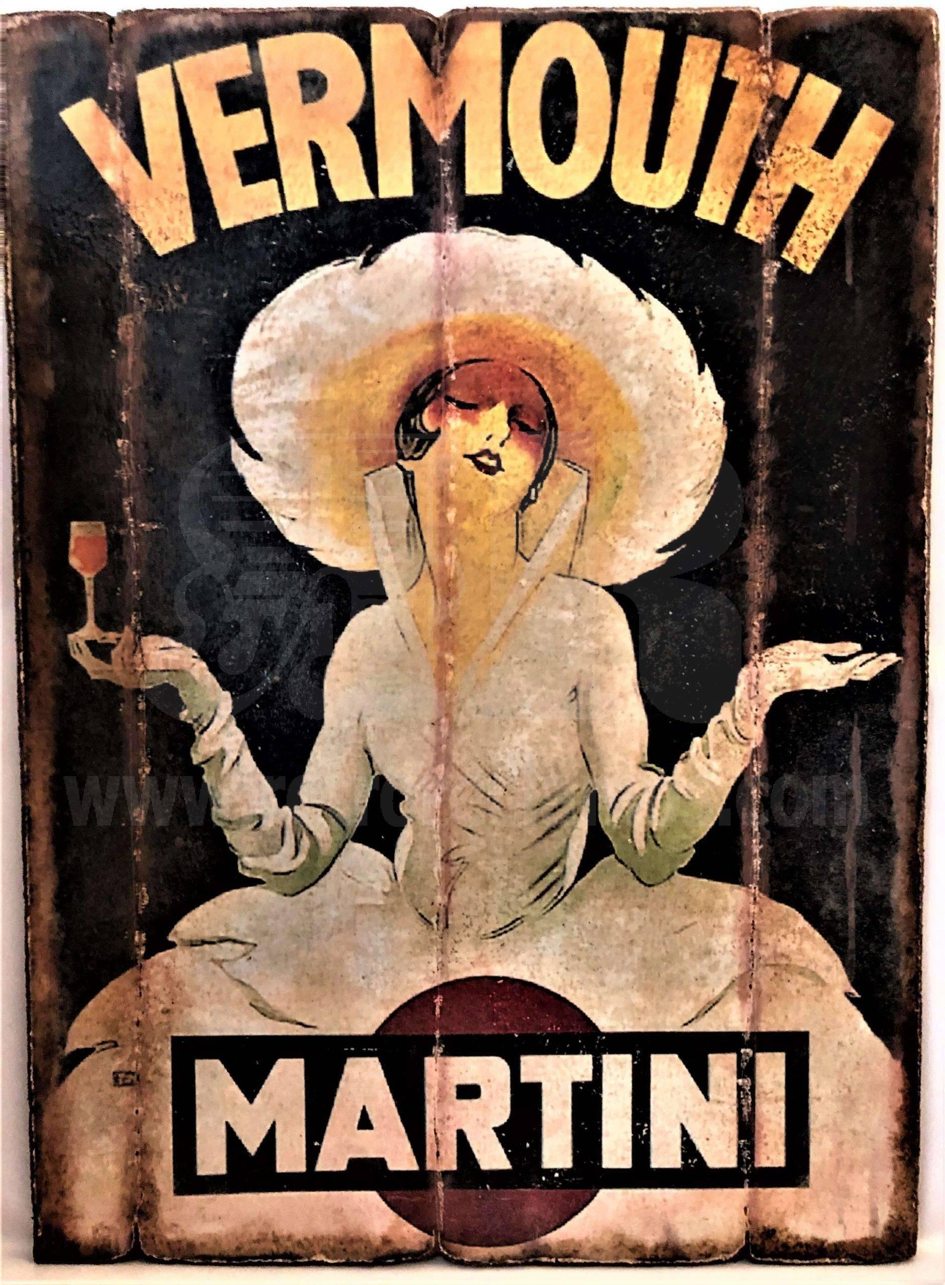 Cuadro de madera vintage MARTINI Inicio Bebidas Cuadros Vintage