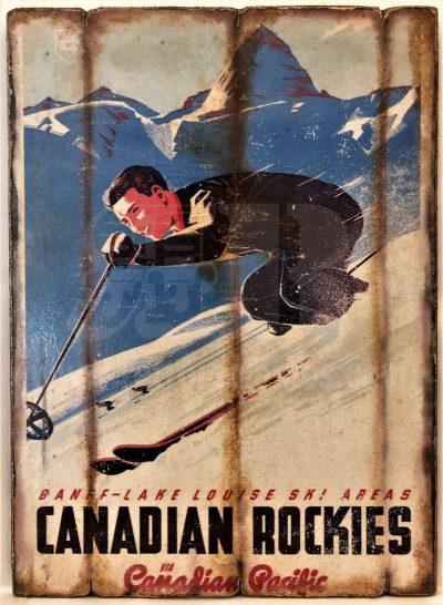 Cuadro de madera vintage CANADIAN ROCKIES Cuadros Vintage Nieve