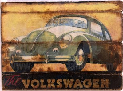 Cuadro de madera vintage VOLKSWAGEN Motor Cuadros Vintage