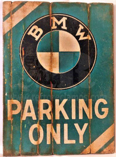 Cuadro de madera vintage ONLY BMW PARKING Motor Cuadros Vintage