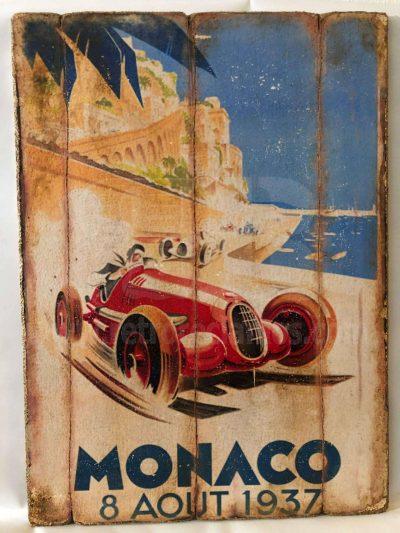 Cuadro de madera vintage MONACO Motor Cuadros Vintage