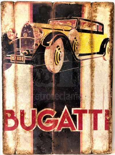 Cuadro de madera vintage BUGATTI Motor Cuadros Vintage