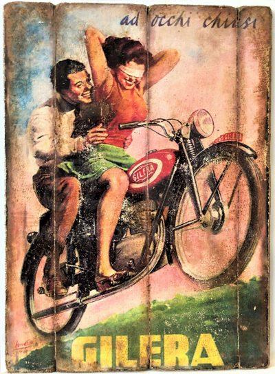 Cuadro de madera vintage GILERA Motor Cuadros Vintage