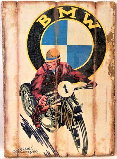 Cuadro de madera vintage BMW Inicio Motor Cuadros Vintage
