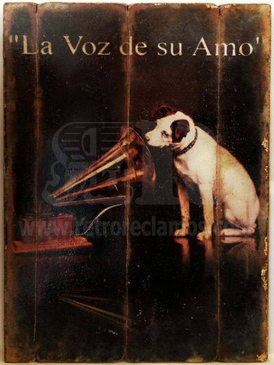 Cuadro de madera vintage LA VOZ DE SU AMO Anuncios Cuadros Vintage