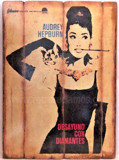 Cuadro de madera vintage DESAYUNO CON DIAMANTES Cuadros Vintage Glamour