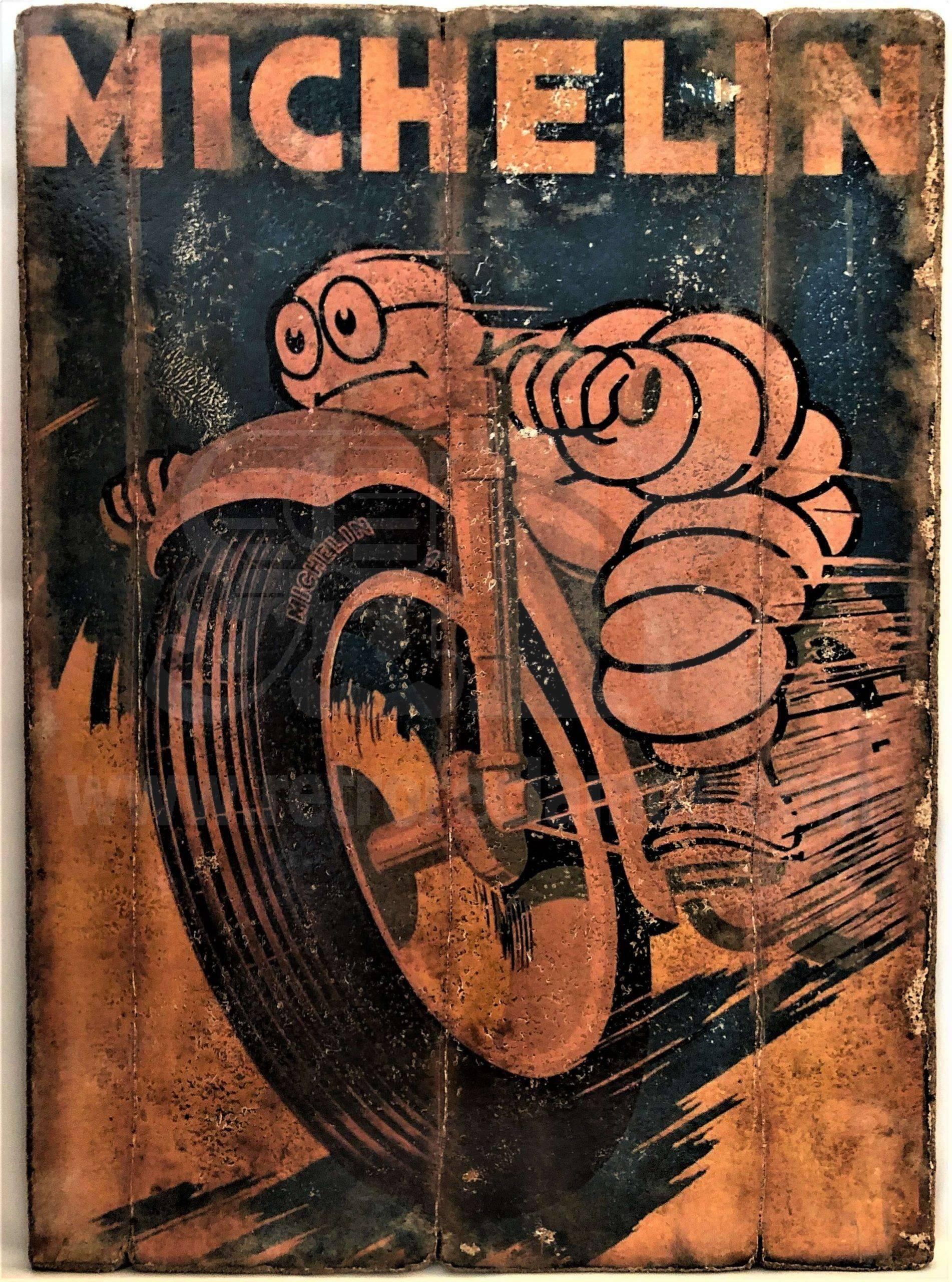 Cuadro de madera vintage MICHELIN Inicio Motor Cuadros Vintage