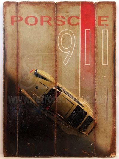 Cuadro de madera vintage PORSCHE 911 Inicio Motor Cuadros Vintage
