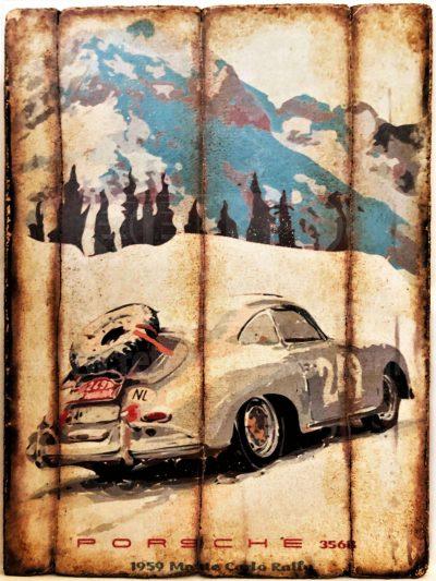 Cuadro de madera vintage PORSCHE 356B Inicio Motor Cuadros Vintage