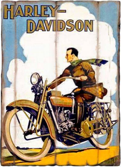 Cuadro de madera vintage HARLEY-DAVIDSON Inicio Motor Cuadros Vintage