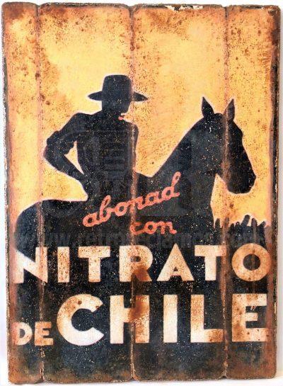 Cuadro de madera vintage NITRATO DE CHILE Anuncios Cuadros Vintage