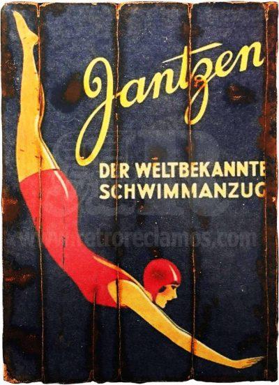 Cuadro de madera vintage JANTZEN Anuncios Cuadros Vintage